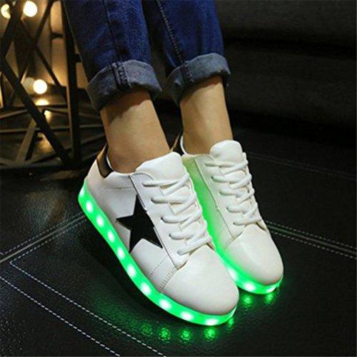 (Present:kleines Handtuch)JUNGLEST bunt LED Leuchtend Aufladen USB Erwachsene Paare Schuhe Herbst und Winter Sport schuhe Freizeitschuhe Leucht la Weiß