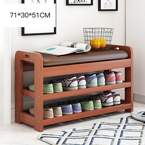 靴のラックスタンドのベンチウッド3段ストレージオーガナイザー寝室の廊下71 * 30 * 51センチメートル ( 色 : ウォールナット色 ) B07BH1C9MD ウォールナット色 ウォールナット色