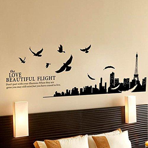 1pcs adesivi murales nero eiffel torre uccelli città frasi murali ...