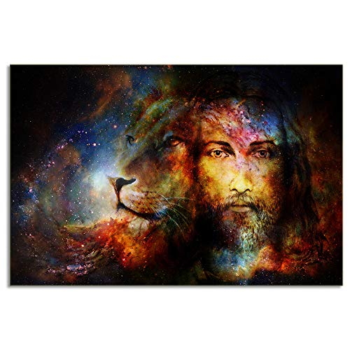 KALAWA Modern Canvas Print Painting Birth Christian Jesus with Loin Portrait Picture Abstract Animals Artwork for Room Decoration Wooden Framed Ready to Hang(24''W x 36''H)