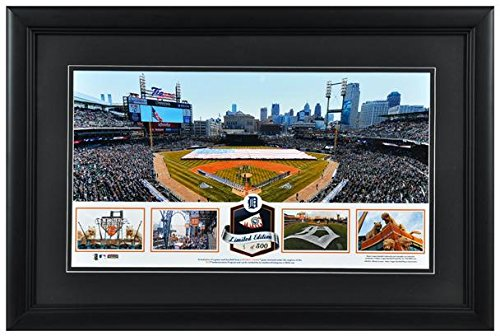 Comerica Park Detroit Tigers Framed Stadium Panoramic with Game-Used Ball-Limited Edition of 500 - Fanatics Authentic Certified (Stadium Comerica Tigers Detroit Park)