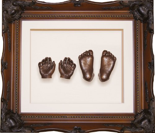 Large Baby Casting Kit with 11.5x9.5'' Vintage Rococo Walnut Gold effect Frame / Bronze Metallic Paint by BabyRice by Anika-Baby