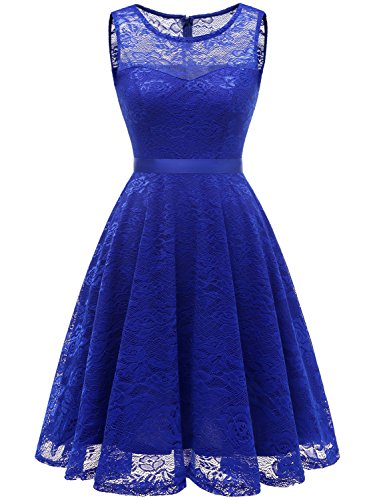 IVNIS RS90050 Women's Vintage Floral Lace Dress Short Bridesmaid Dresses Scoop-Neck Cocktail Party Dress Royalblue M