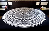 Folkulture Black White Double Bed Mandala Cotton Bedspread Cover, Indian Queen Size Bohemian Bedsheet Set For Bedroom Décor
