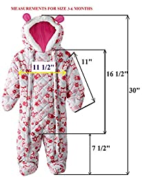 Pink Platinum Baby Girls Owl Microfleece Quilted Puffer Snow Pram Suit Bunting, Pink, 12 Months