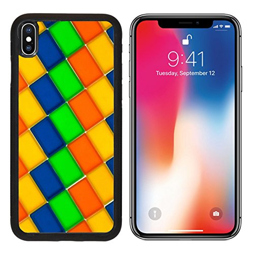 MSD Premium Apple iPhone X Aluminum Backplate Bumper Snap Case Rectangle blocks of different colors IMAGE (Rectangle Backplate)