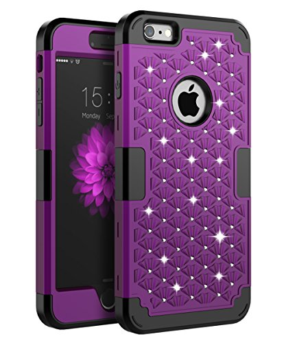 iPhone 6s Plus Bling case, iPhone 6 Plus Bling case, TOPSKY [Shock Absorption] Studded Rhinestone Bling High Impact Resistant Armor Defender Case for iPhone 6 Plus and iPhone 6s Plus,Purple Black