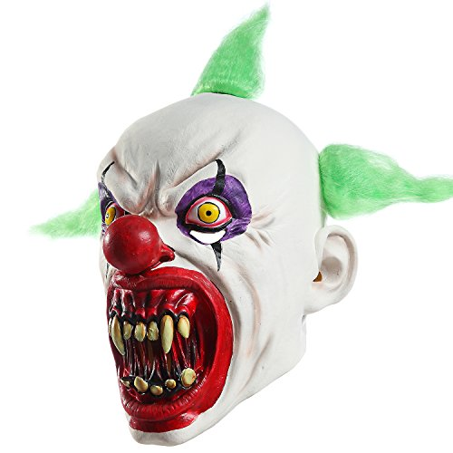 (Creepy Scary Halloween Clown Costume Mask for Adults Party Favors Huanted)