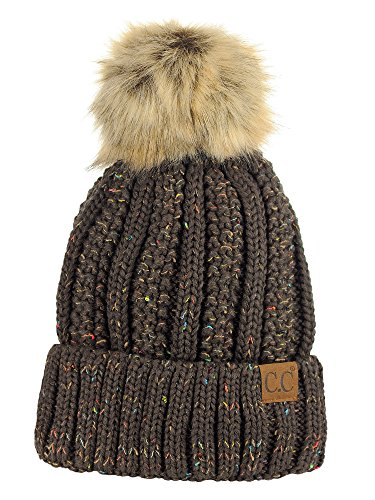 Fleece Beanie Brown - C.C Thick Cable Knit Faux Fuzzy Fur Pom Fleece Lined Skull Cap Cuff Beanie, Confetti Brown