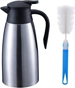 OKQ Premium Stainless Steel Thermal Coffee Carafe, Double wall insulated vacuum carafe, 2 Liter 68oz Insulated Coffee Thermos, Water & Beverage Dispenser, Keep 12 Hours Hot, 24 Hours Cold (Silver)