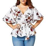 Xavigio_Women Tops Women's Floral Printed Plus Size Short Sleeve Belt Tie Peplum Wrap Casual Blouse Top Shirts White