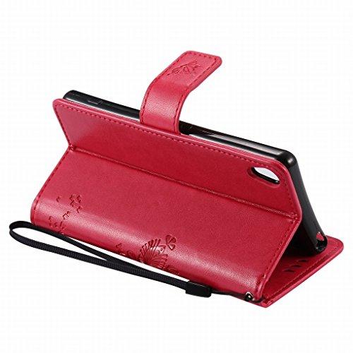 Custodia Sony Xperia XA Cover Case, Ougger Alberi Gatto Printing Portafoglio PU Pelle Magnetico Stand Morbido Silicone Flip Bumper Protettivo Gomma Shell Borsa Custodie con Slot per Schede (Rose Rosso