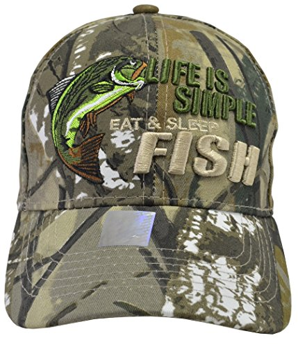 Incrediblegifts Life is Simple Fish Hat Camo ()