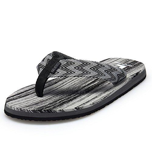 QLEYO Men Sandals Flip Flops Bath Shower Shoes Beach Sandals Comfort Summer Slippers RZT001-M2-44