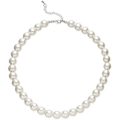 d1e1ae1b95008 BABEYOND Round Imitation Pearl Necklace Wedding Pearl Necklace for Brides  White
