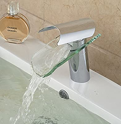 Rozin Oil Rubbed Bronze Waterfall Glass Spout One Hole Single Handle Bathroom Sink Faucet