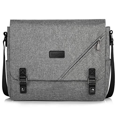 ibagbar Canvas Messenger Bag Shoulder Bag Laptop Bag Computer Bag Satchel Bag Bookbag School Bag Working Bag for Men and Women (Grey 004)