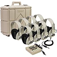 Califone 8-Position Monaural Listening Center with Eight 2924AV Monaural Headphones, 8-position 1218AVPY Monaural Jackbox, Storage Case