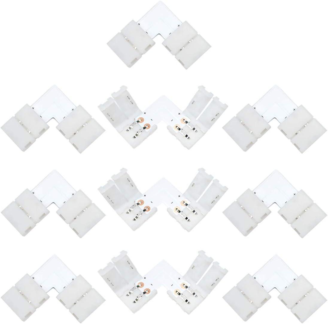 Liwinting 10 Piezas 2 Pin L Forma Solderless Snap Abajo Conector de Tiras de LED de 2 Pin para ángulo Recto o 90 ángulos de Torneado Conexión de 8mm de Ancho SMD 3528 2835 Tiras de LED