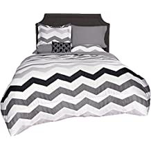 Beco Home Bedding Collection: 8 Piece Bed-in-a-Bag Comforter Set, Chevron (Grey/White), Twin/Twin XL
