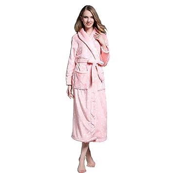 Bata De Bata De Baño De Talla Grande, para Mujer Homewear Suave con Cinturón Y Ropa De Dormir Larga con Bolsillo (Color : Pink, Tamaño : L): Amazon.es: ...