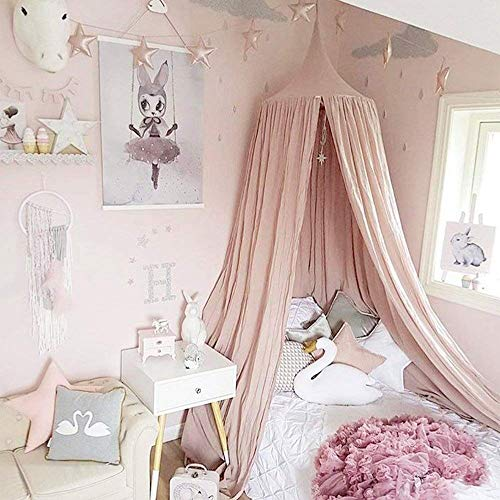 Wonder Space Handmade Cotton Canvas Kids Bed Canopy Mosquito Net by, Indoor Round Dome Hanging Play Tent Curtain, Ideal for Baby Toddlers Tots Crib, Reading Nook & House Decoration (Pink)