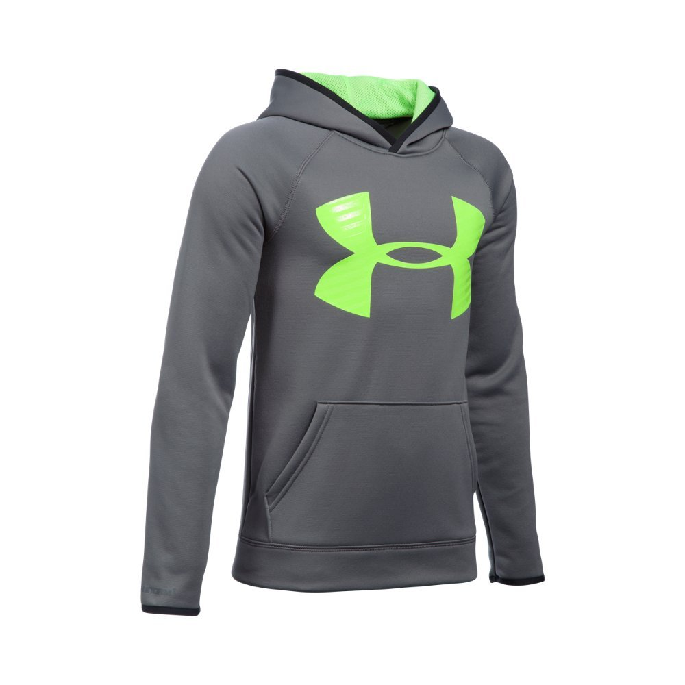Under Armour Boys' Storm Armour Fleece Highlight Big Logo Hoodie, Graphite/Fuel Green, Youth X-Small