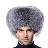 URSFUR Winter Men Fur Hat Real Silver Blue Fox Fur Russian Ushanka Trapper Cap