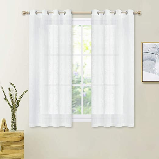Amazon.com: PONY DANCE Bathroom Sheers Curtains - White Voile