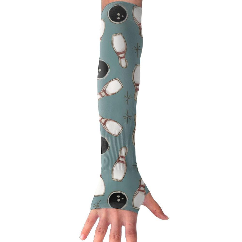 Huadduo Drawing Bowling Fun UV Sun Protection Sleeves,Cooling Arm Sleeves For Men &Women Long Arm Sleeve Glove Fit Running,Golf,Cycling,Biking, Driving,Fishing
