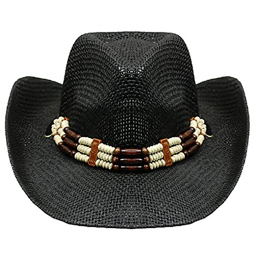 Leather Woven Cowboy Hat - Silver Fever Woven Cowboy Hat Triple Beaded Leather Band & Chin Strap