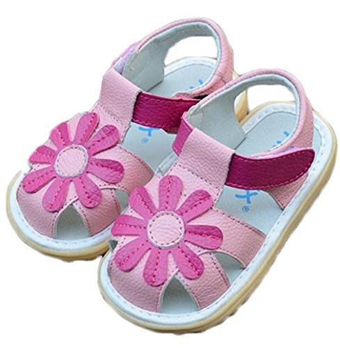 Orlando Johanson New Girls' Toddler Little Kid Flower Closed Toe Summer Sandals Comfortable Sandals (5.5 M, Pink) - Meaning Gabbana Of