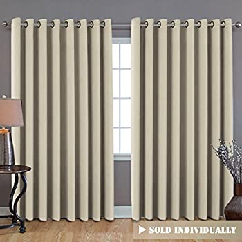 H.VERSAILTEX Extra Wide Width Room Divider Curtain, Room Darkening Patio Door Curtain, Thermal Insulated Blackout Sliding Door Curtain Panel (One Piece, 8.5ft Width x 7ft Length, Elegant Beige)