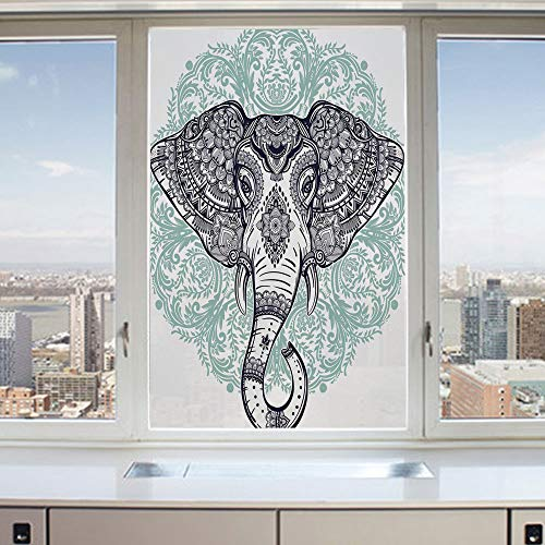 3D Decorative Privacy Window Films,Ethnic Indian Floral Paisley Print Sacred Animal Head Hippie,No-Glue Self Static Cling Glass Film for Home Bedroom Bathroom Kitchen Office 17.5x36 Inch