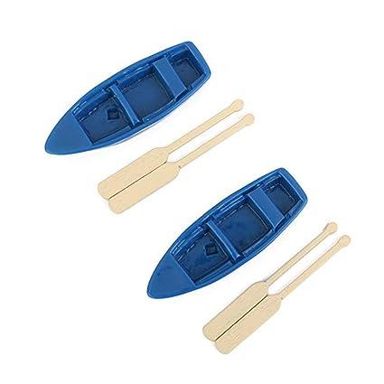 Rabott 2pcs Miniature Fairy Garden Blue Boat Oars Mini Decor Accessories Gardening Decoration Kit