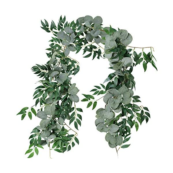 Supla 2 Separate 5.9′ L/Pcs Faux Silver Dollar Eucalyptus and Willow Vines Twigs Leaves Garland String Wedding Arch Swag Backdrop Garland Doorways Greenery Garland Table Runner Garland Indoor Outdoor