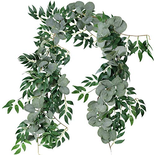 Supla 5.9' Long Blended Faux Silver Dollar Eucalyptus and Willow Vines Twigs Leaves Garland String Wedding Arch Swag Backdrop Garland Doorways Greenery Garland Table Runner Garland Indoor Outdoor ()