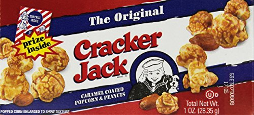 Cracker Jack Original Singles, 1 Ounce (Pack of 25) 5 Pack of twenty five, 1 ounce each (total of twenty five ounces) Caramel-coated popcorn and peanuts Each pack has a surprise inside
