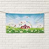 Chaneyhouse Circus,Travel Towel,Travelling Circus Under Blue Sky Flowers Flying Butterflies Lawn in Grassland Print,Quick-Dry Towels,Multicolor Size: W 14'' x L 27.5''