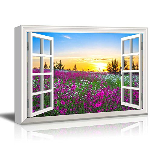 Creative Window View Beautiful Summer Sunrise over a Blossoming Meadow