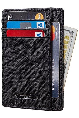 Front Fold Wallet - Chelmon Slim Wallet RFID Front Pocket Wallet Minimalist Secure Thin Credit Card Holder (crosshatch black)
