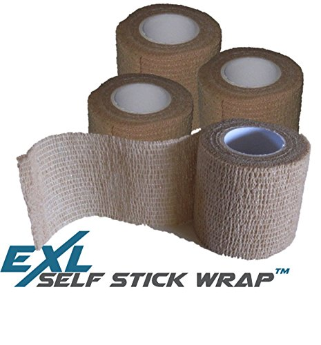 Performance Roll - ExL Performance Self-Stick Wrap - 4-Pack - Flexible Non-Stick, Self-Adherent, Pressure Wrap Gauze Bandage - Latex-Free - Large Roll (15 feet long and 2 inches wide) (Beige/Tan)