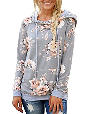 11f8e7d3b Angashion Women Hoodies-Tops- Floral Printed Long Sleeve Pocket Drawstring  Sweatshirt With Pocket,