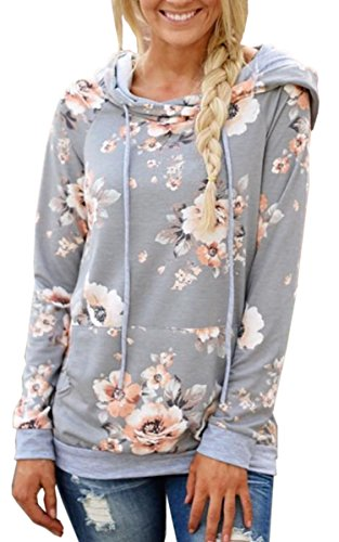 ies-Tops- Floral Printed Long Sleeve Pocket Drawstring Sweatshirt with Pocket Light Grey ()