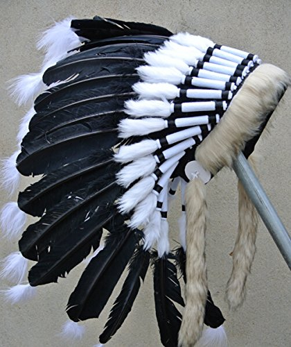 Black Costumes Bonnet (Black Turkey Wing Feather Indian Headdress Warbonnet Native American Costume Feathers War Bonnet Hat For Adult)