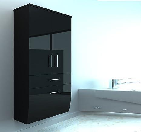 Badmöbel Hochglanz Hochschrank Badezimmerschrank Hängend Hängeschrank  Schwarz oder weiß (Schwarz)
