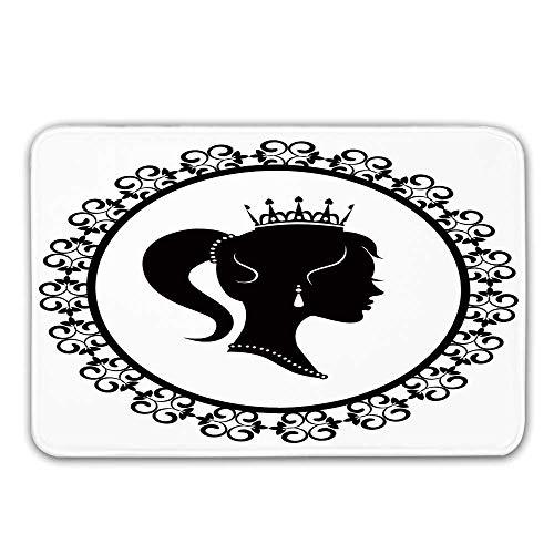 Queen Non Slip Door Mat,Profile Silhouette of Princess in Frame with Victorian Details Young Noble Woman Doormat for Front Door Indoor,31.5