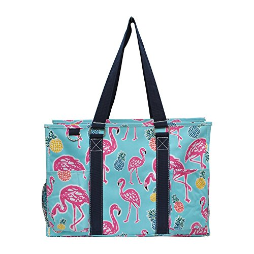 NGIL All Purpose Organizer Medium Utility Tote Bag 2018 Spring Collection (Tropical Flamingo Navy)]()