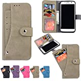 Galaxy S7 Edge Case, Firefish Folio Flip Leather Cover with Cash and Credit Card slots Cash Compartment for Samsung Galaxy S7 Edge -Grey
