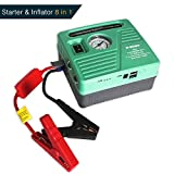 Portable 12V Jump Starter Battery Pack with Air Compressor, Auto Battery Booster with Jumper Cables 13000 mAh Battery Power Jump Pack by JF.EGWO, Green